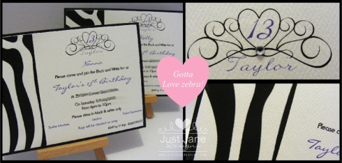black and white zebra theme invitations