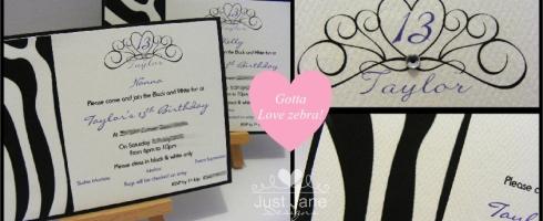 black and white zebra theme invitations
