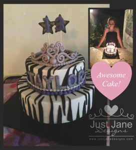 zebra tiara black and white theme cake